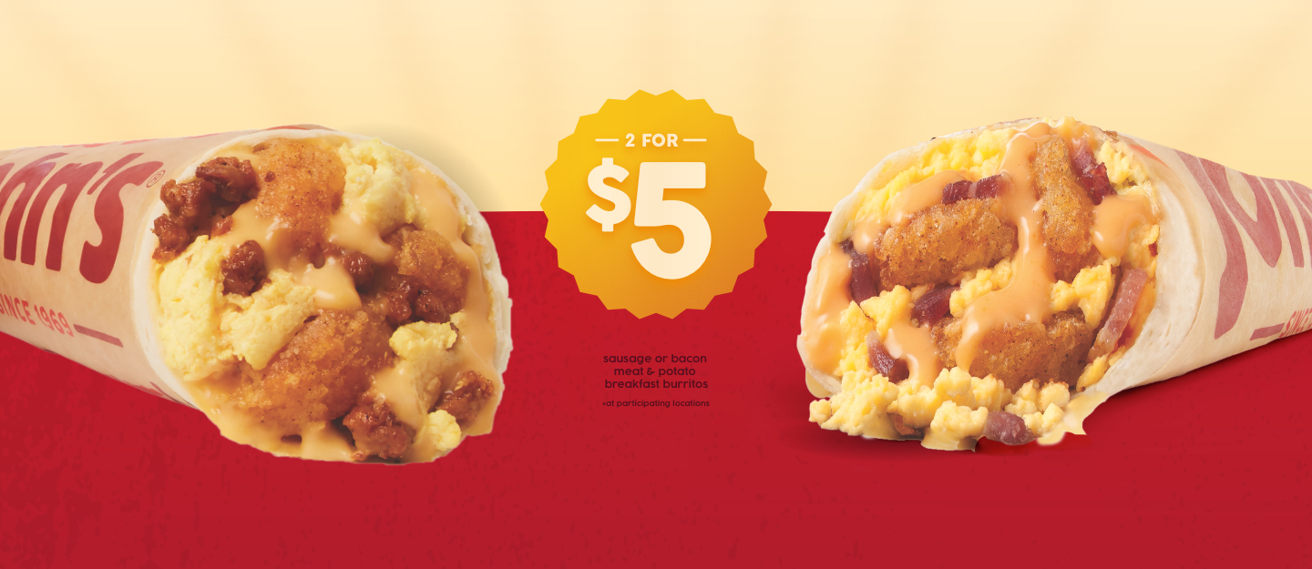 2 for $5 Bacon or Sausage Meat & Potato Breakfast Burritos at participating locations